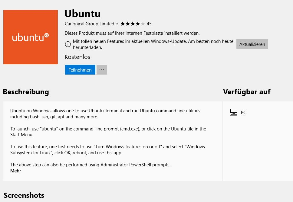 windows 10 Ubuntue